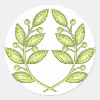 Sticker with crystal laurel wreath