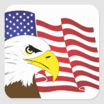 Sticker with Eagle and US Flag Square Sticker