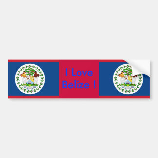 Sticker with Flag of Belize Bumper Sticker