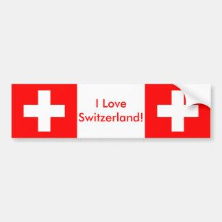 Sticker with Flag of Switzerland Bumper Sticker