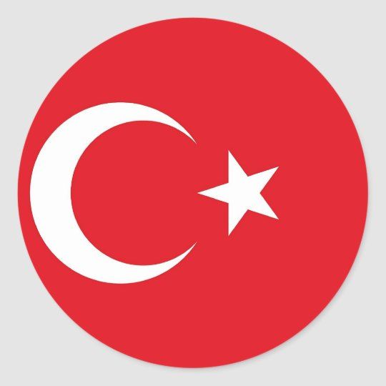 Sticker with Flag of Turkey