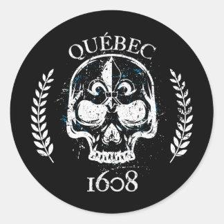 Sticker (x20_ round Quebec biker skull/skull