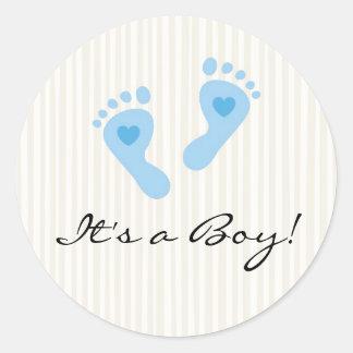 Stickers Baby boy blue footprints - It s a Boy