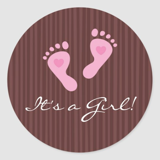 Stickers: Baby girl pink footprints - It's a Girl! Classic Round Sticker