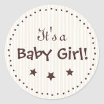 Stickers: Cream and chocolate - It's a Baby Girl!