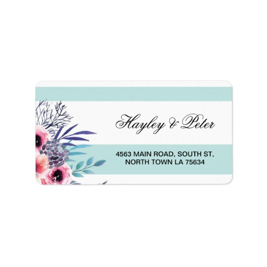 Stickers Floral Blue Aqua Stripe Address Labels