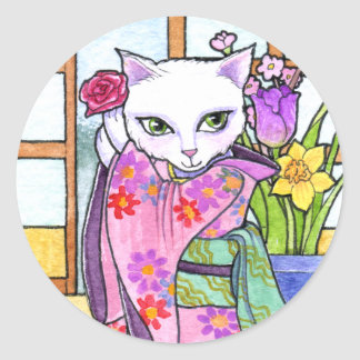 Stickers Geisha Asian Cat Fantasy by Ann Howard