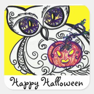 "Stickers ""Happy Hallowee"" Owl & Pumpkin Tribal"