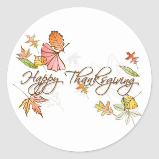 Stickers - Happy Thanksgiving Autumn Leaves