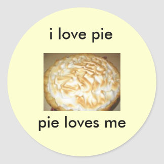 stickers, i love pie, pie loves me round sticker