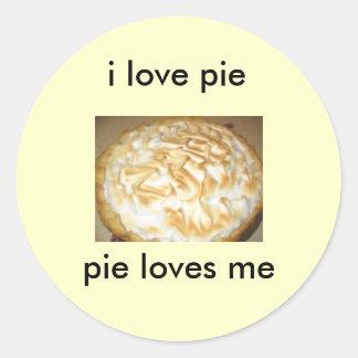 stickers, i love pie, pie loves me round sticker