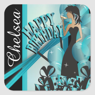 Stickers - Personalize Birthday - Turquoise