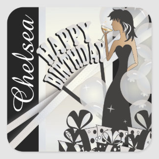 Stickers - Personalize Birthday - White Pearl
