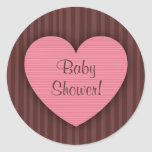 Stickers: Pink heart - Baby shower!