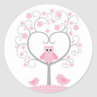 Stickers/Pink Owls with Heart Shaped Tree Round Sticker