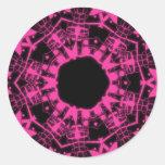 Stickers psychédélique kaleidoscope rose et noir adhésif rond