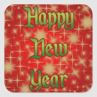 Stickers squares: Happy new year