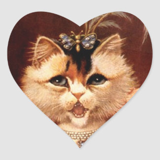 STICKERS Victorian Singing Parlor Cat Jewel Heart