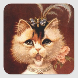 STICKERS Victorian Singing Parlor Cat Jewel Square