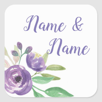 Stickers Wedding Labels Purple Flower Floral