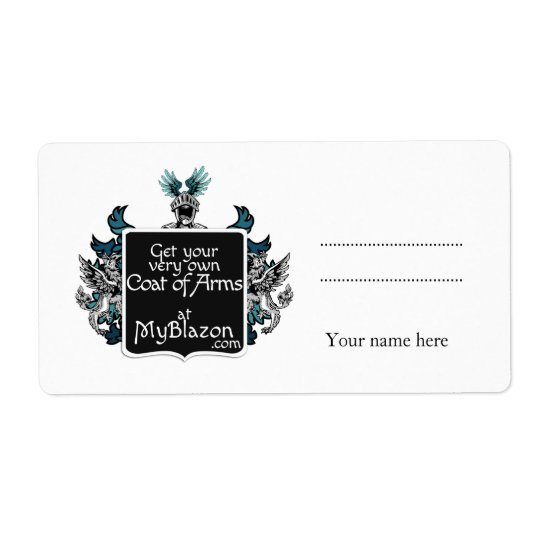Stickers with your very own coat of arms shipping label