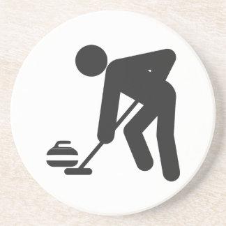 Stickman curling sweeper sandstone coaster
