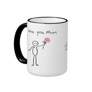 Stickman - I love you mum - Awesome mum - Mother Ringer Mug