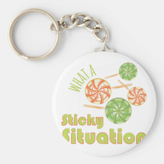 Sticky Situation Basic Round Button Key Ring