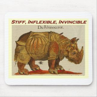 Stiff, Inflexible, Invincible rhino  brown.jpg Mouse Mat
