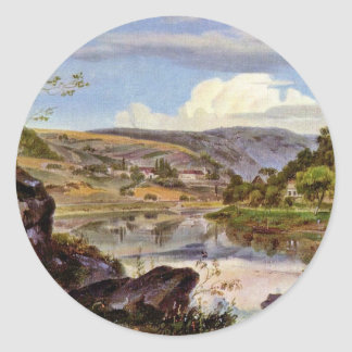 Stift Neuburg And The Neckar Valley By Fries Ernst Round Sticker
