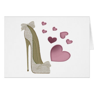 Stiletto and Pink Hearts Art Greeting Card