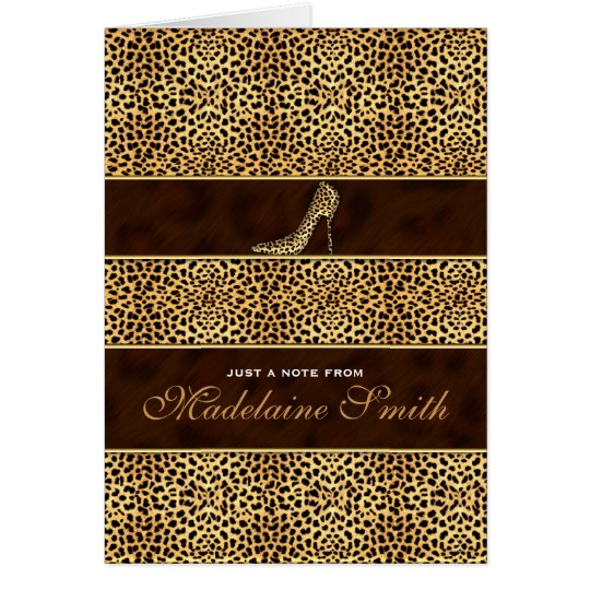 Stiletto Heel and Cheetah Print Deluxe Card