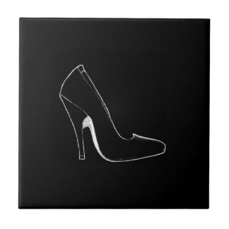 Stiletto Heel Right Side Black White The MUSEUM Small Square Tile