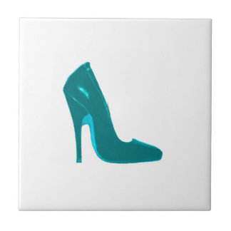 Stiletto Heel Right Side Cyan The MUSEUM Zazzle Small Square Tile