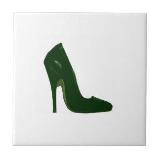 Stiletto Heel Right Side Green d The MUSEUM Zazzle Small Square Tile