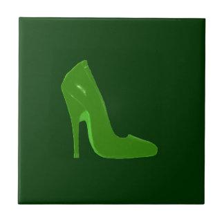 Stiletto Heel Right Side Green L The MUSEUM Zazzle Small Square Tile