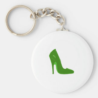Stiletto Heel Right Side Green Lt The MUSEUM Zazzl Basic Round Button Key Ring
