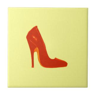 Stiletto Heel Right Side Orange The MUSEUM Zazzle Small Square Tile