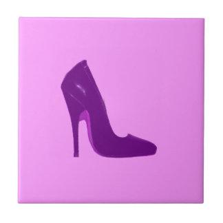 Stiletto Heel Right Side Purple The MUSEUM Zazzle Small Square Tile