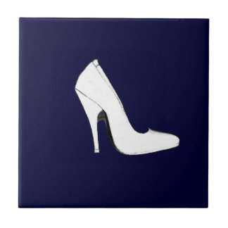Stiletto Heel Right Side White The MUSEUM Zazz Small Square Tile