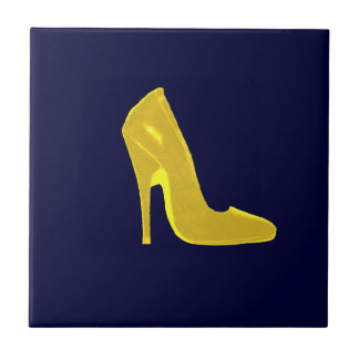 Stiletto Heel Right Side Yellow  The MUSEUM Zazz Small Square Tile
