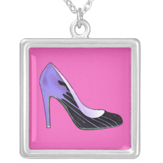 Stiletto pump, blue on hot pink personalized necklace
