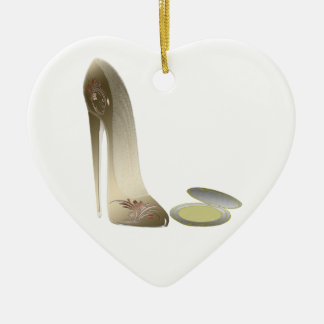 Stiletto Shoe and Compact Art Ceramic Heart Decoration