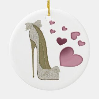 Stiletto Shoe and Pink Hearts Art Round Ceramic Decoration