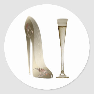 Stiletto Shoe Art and Champagne Flute Gifts Classic Round Sticker