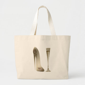 Stiletto Shoe Art and Champagne Flute Gifts Large Tote Bag