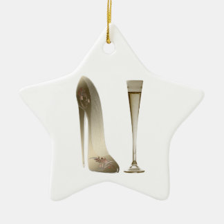 Stiletto Shoe High Heel Art and Champagne Flute Christmas Ornament