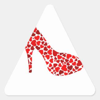 stiletto with red hearts triangle sticker