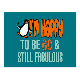Still Fabulous 60th Birthday Penguin Postcard