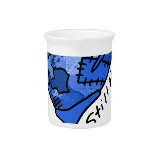 Still Here Blue Patchwork Heart Drink Pitcher
